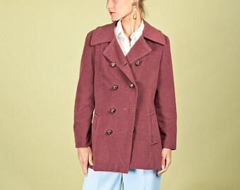 50s Burgundy Coat Red Vintage Button Wool Jacket