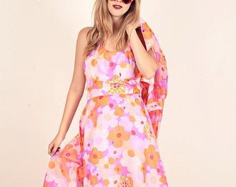 60s Hippie Dress Vintage Pink Floral Halter Maxi Dress