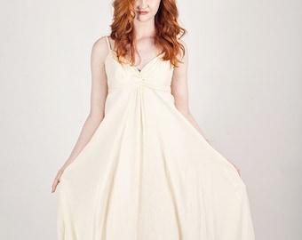 50s Grecian Dress Vintage Crepe Dress Cream Long Spaghetti Strap Dress