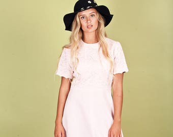 60s Pink Lace Dress Vintage Pink Long Maxi Dress