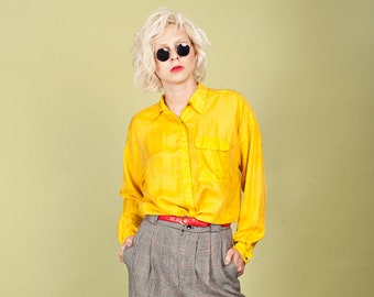 80s Bright Yellow Button Down Vintage Silk Long Sleeve Top