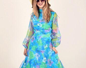 70s Blue Watercolor Dress Vintage Floral Blue Maxi Dress