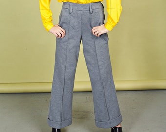 70s Gray Wide Legged Pants Vintage Grey High Waisted Knit Trousers