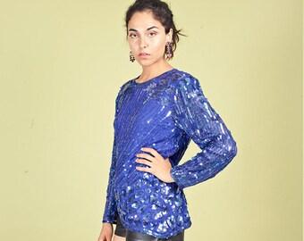 aa03d90957b7d 80s Royal Blue Sequin Blouse Vintage Beaded Long Sleeve Top