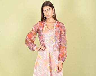 70s Pink Marble Print Dress Vintage Psychedelic Colorful A Line Dress