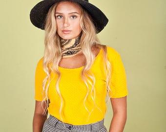 80s Sunflower Yellow Bodysuit Vintage Bright Short Sleeve Top