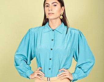 70s Aquamarine Button Down Blouse Vintage Blue Collar Secretary Top