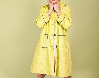 50s Lime Green Quilted Coat Vintage Peter Pan Collar Long Coat