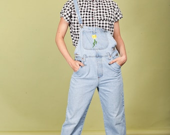 90s Light Denim Overalls Vintage Flower Embroidered Blue Pant Overalls
