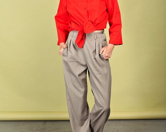 70s Tan Wide Legged Trousers Vintage Wool Button Pants