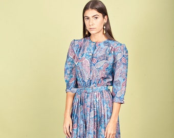 70s Blue Paisley Print Dress Vintage Pleated Belted House Dress