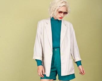 80s Beige Linen Oversize Blazer Vintage Button Minimal Blazer Jacket