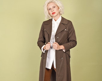 70s Tan Long Raincoat Vintage Olive Green Button Pocket Trench Coat