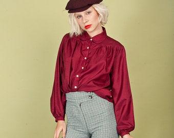 70s Wine Red Ruffle Blouse Vintage Long Sleeve Print Top