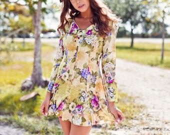 80s Green Foliage Dress Vintage Floral Ruffle Summer Mini Dress