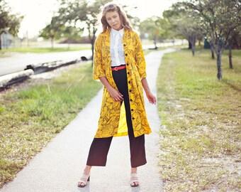 70s Bright Yellow Jacket Vintage Geometric Line Print Long Duster