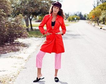 60s Red Coat Blood Orange Vintage Long Neiman Marcus Jacket