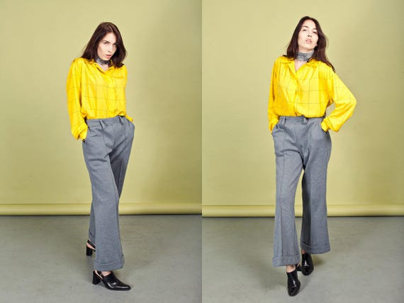 70s Gray Wide Legged Pants Vintage Grey High Wais… - image 4