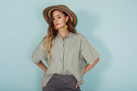 80s Green White Striped Top Vintage Boxy Button up