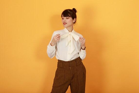 80s Brown Orange Plaid Pants Vintage Houndstooth … - image 8