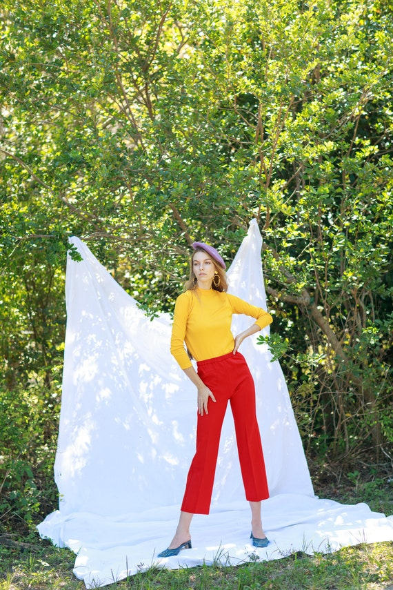 60s Apple Red High Waisted Trousers Vintage Knit … - image 7