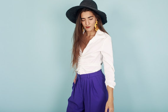 80s Off White Formal Collar Blouse Vintage Statem… - image 4