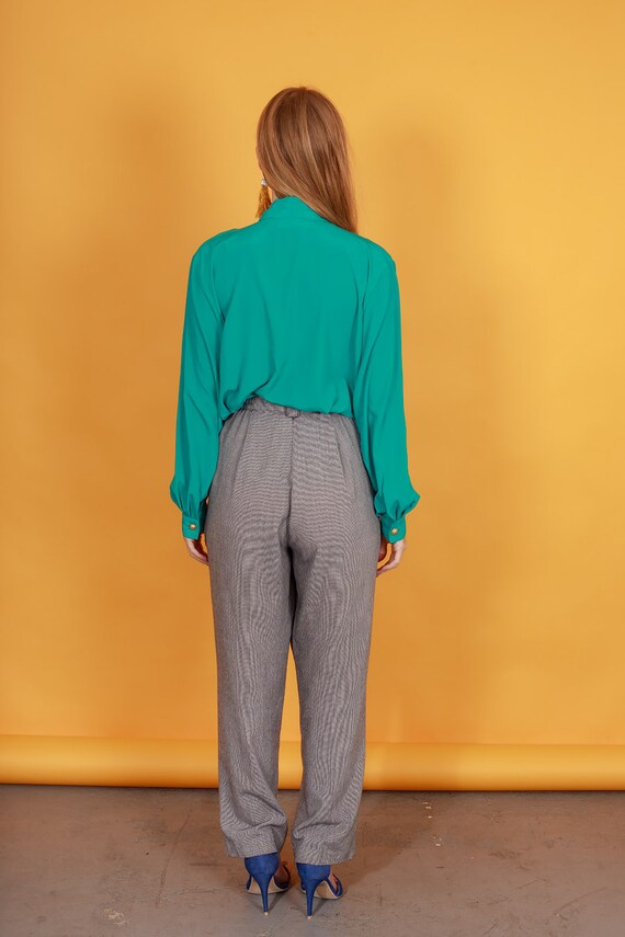 80s Grey Plaid Belted Trousers Vintage Black Slou… - image 8