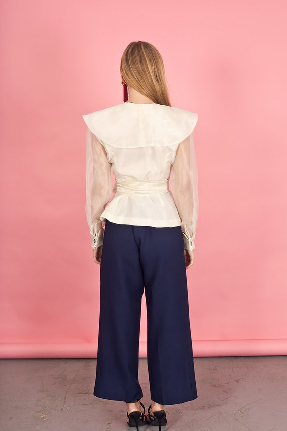 80s Off White Shimmery Statement Collar Top Vinta… - image 8