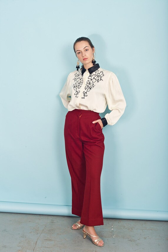 70s Wine Red Knit Pants Vintage Wide Leg Deep Red… - image 6
