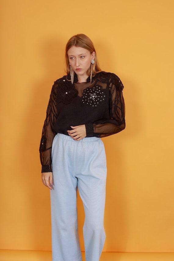 70s Pastel Blue Knit Trousers Vintage Light Textu… - image 2