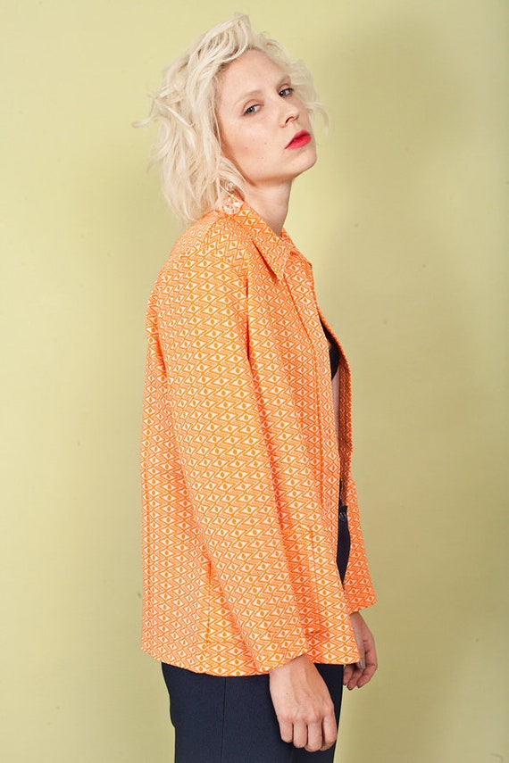 60s Orange Printed Knit Top Vintage Collar Knitte… - image 7