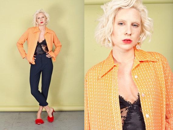 60s Orange Printed Knit Top Vintage Collar Knitte… - image 2