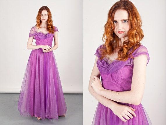 50s Purple Tulle Gown Vintage Violet Tulle Straple