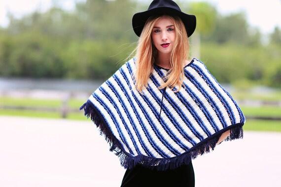 80s Black Striped Poncho Vintage Blue Knitted Blac