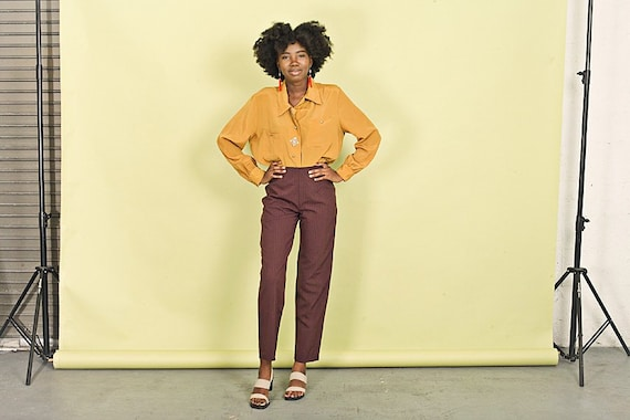80s Wine Red Straight Leg Pants Vintage Pintstripe High Waisted Trousers