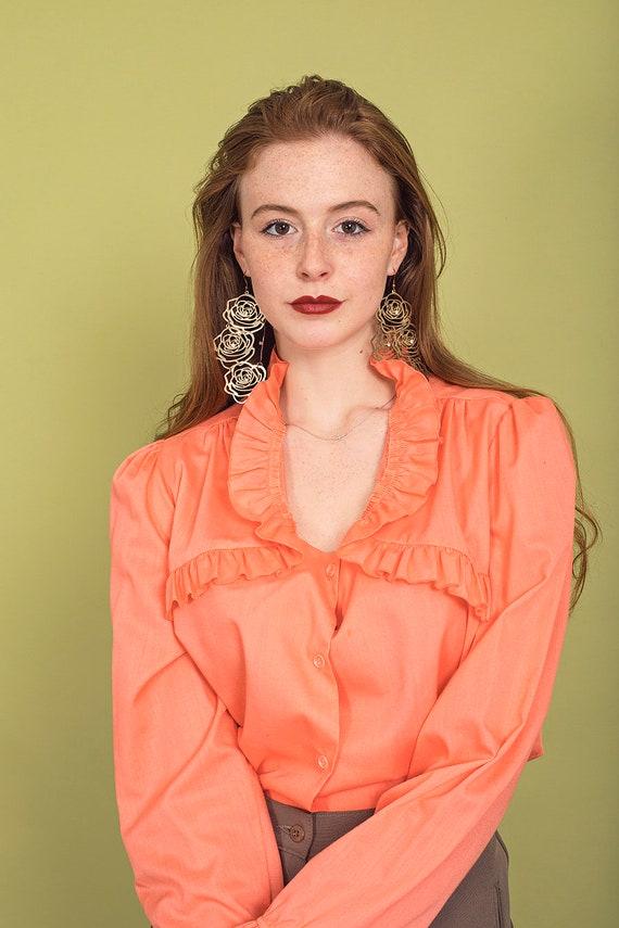 70s Peach Ruffle Collar Blouse Vintage Coral Cott… - image 6