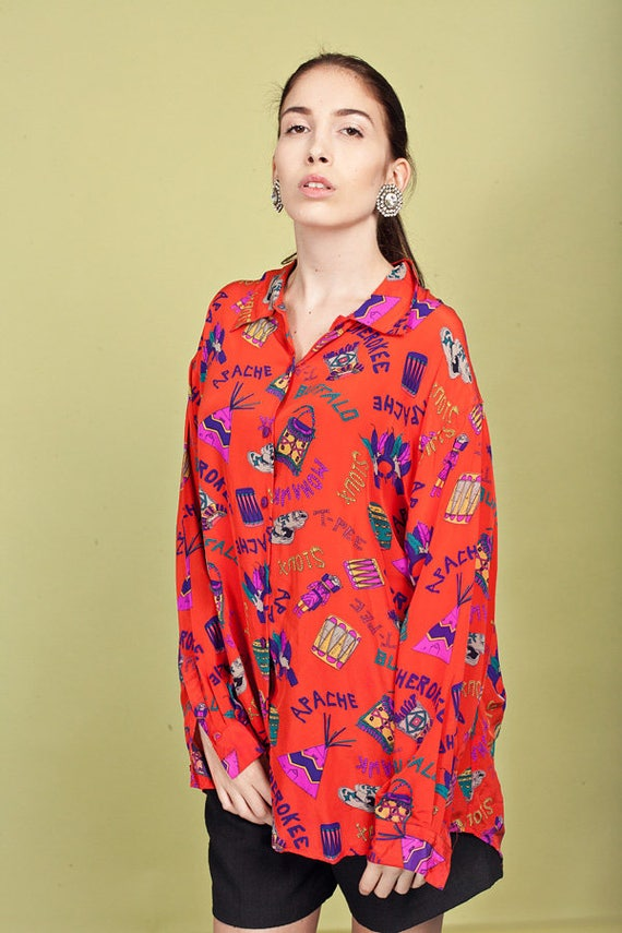 80s Red Silk Blouse Vintage Southwestern Silk Native American Print Blouse
