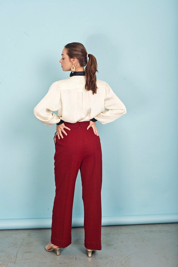 70s Wine Red Knit Pants Vintage Wide Leg Deep Red… - image 7