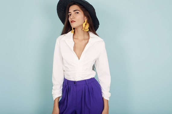 80s Off White Formal Collar Blouse Vintage Statem… - image 8
