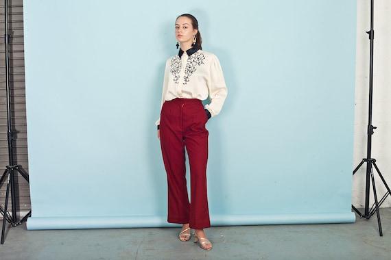 70s Wine Red Knit Pants Vintage Wide Leg Deep Red… - image 3