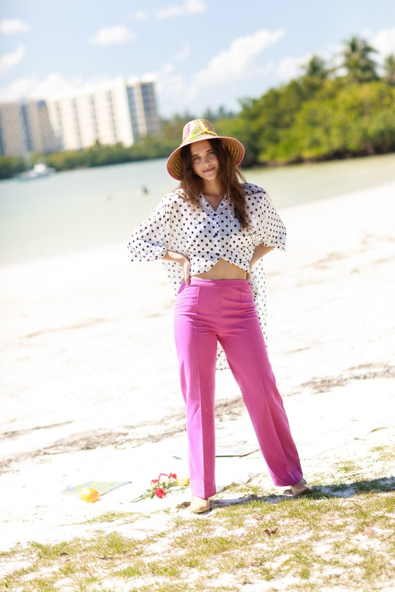 60s Rose Pink Knit Trousers Vintage High Waisted … - image 2