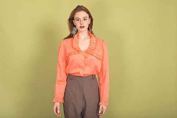70s Peach Ruffle Collar Blouse Vintage Coral Cott… - image 1