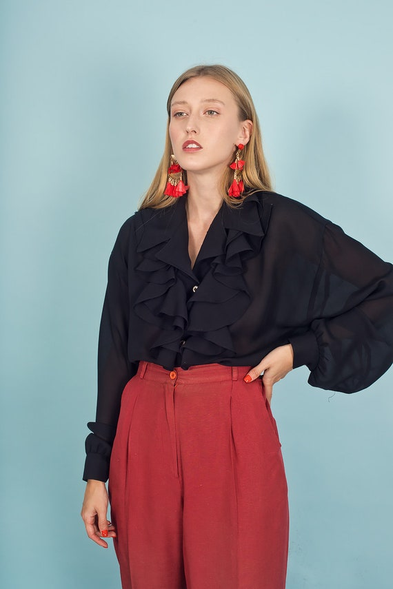 80s Rose Red Silk Textured Pants Vintage Linen Mi… - image 3