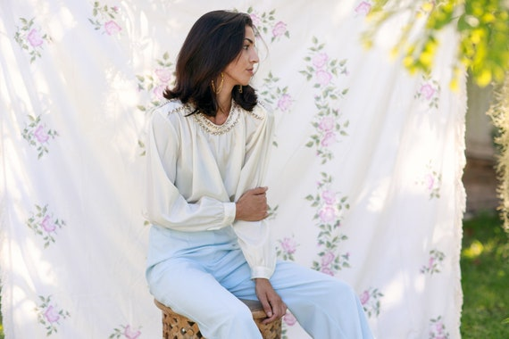 70s Light Blue Soft Knit Trousers Vintage Straigh… - image 7