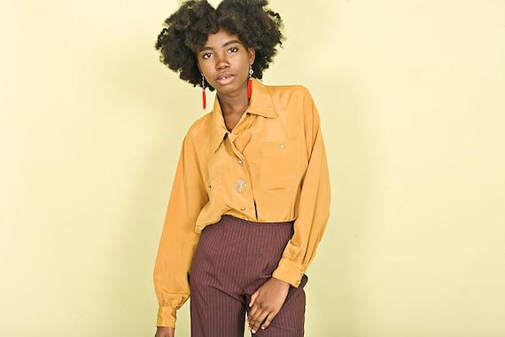 80s Mustard Yellow Pocket Blouse Vintage Long Slee