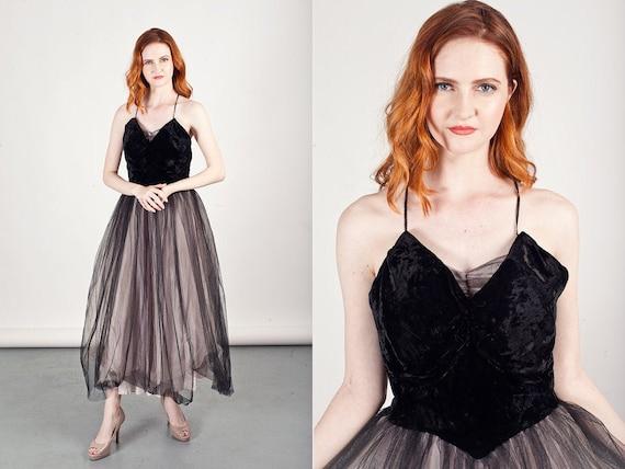 50s Black Prom Dress Tulle Vintage Gothic Velvet P