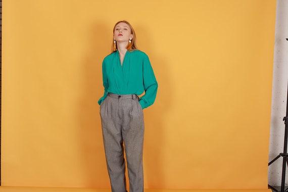 80s Grey Plaid Belted Trousers Vintage Black Slou… - image 7