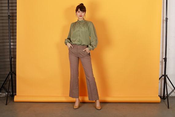 70s Khaki Flared Knit Pants Vintage Beige High Wa… - image 3
