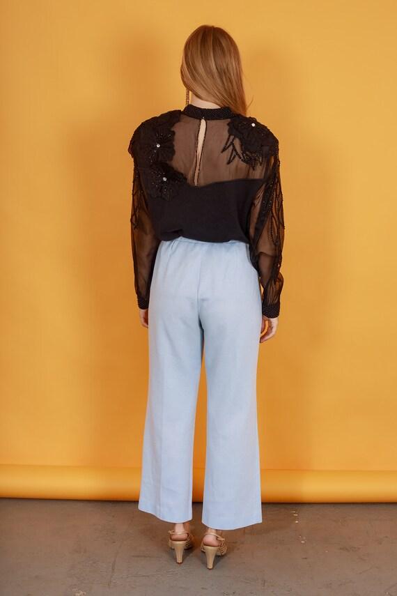 70s Pastel Blue Knit Trousers Vintage Light Textu… - image 9