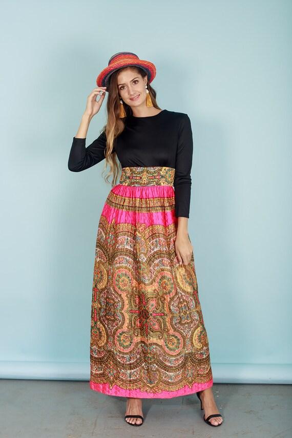 60s Quilt Dress Colorful Vintage Paisley Print Rh… - image 4